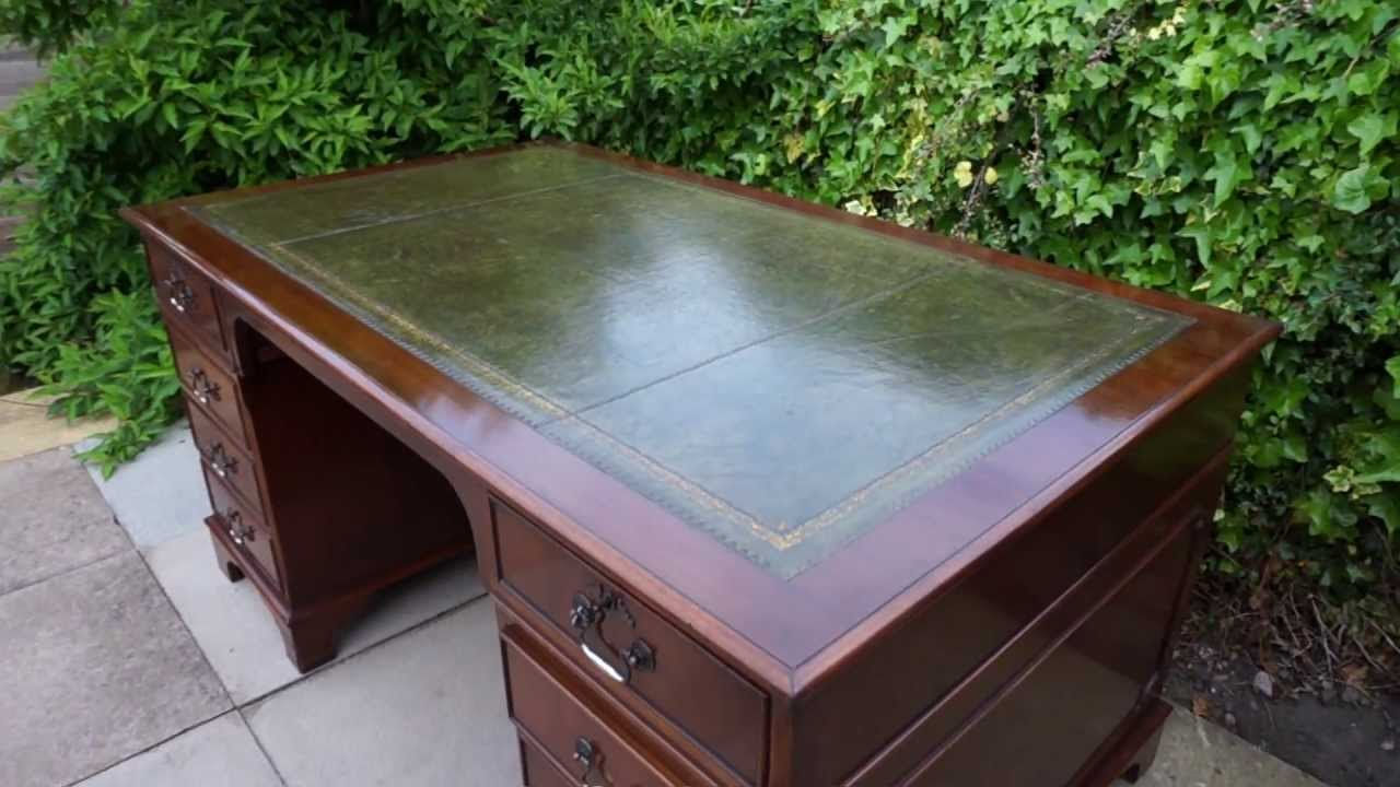 Large Twin Pedestal Office Writing Desk Antique Style Green Leather Top