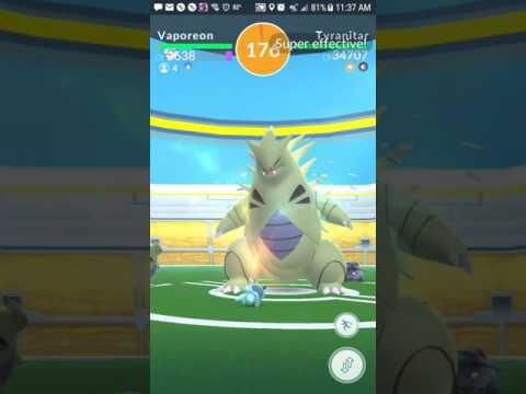 Pokemon go 4 star Tyranitar raid with a 8 person raid group