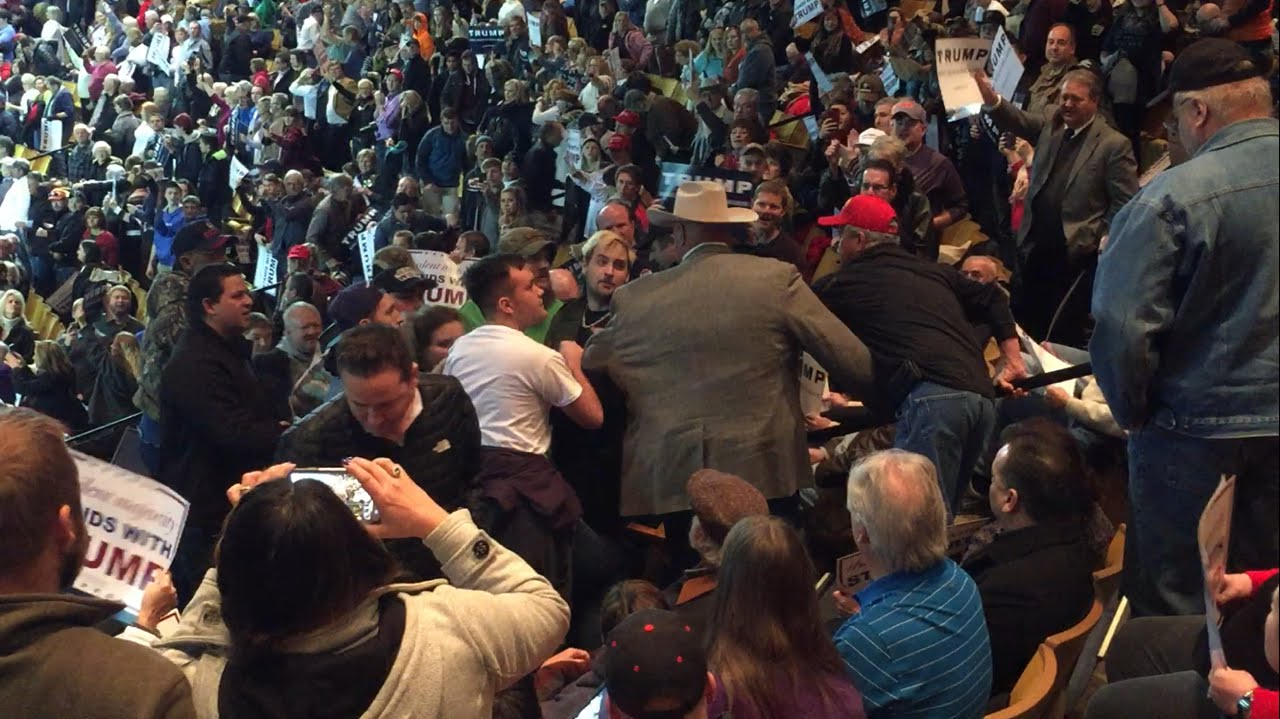 Image result for Images of fights at Trump rallies