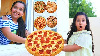 Shafa and Soso Pretend Play Pizza Drive Thru Restaurant | Funny Food Toys Story for Kids