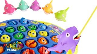 Learning Colors for Kids: Paw Patrol Chase & Skye Let's Go Fishing with Color Sharks & Fish Toys