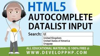 HTML5 tutorial Autocomplete Form Field Text Input Datalist List Attribute