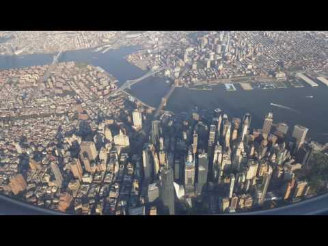 Landing in La Guardia LGA New York .  4k