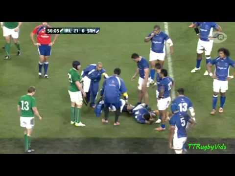 Horrific head clash Ireland v Samoa