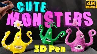 Garden monsters (3D Pen Time-lapse) Cute scuplture