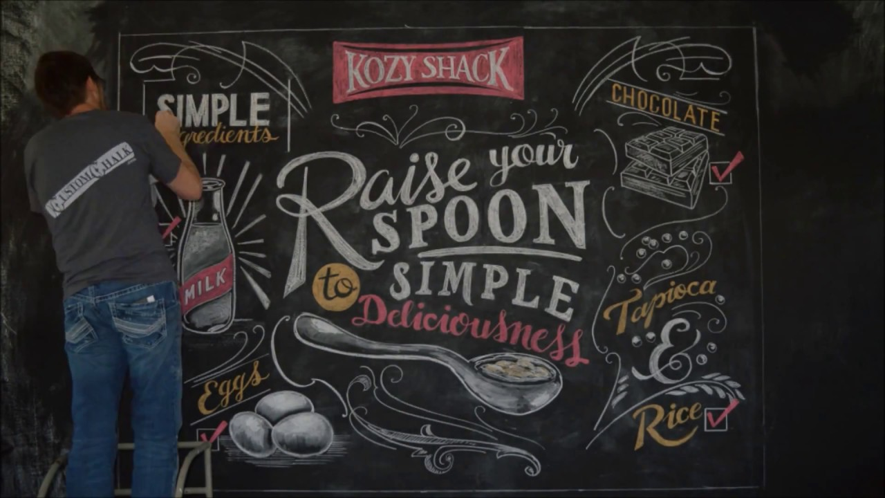 Chalk art lettering mural time lapse for kozy shack for Mural lettering