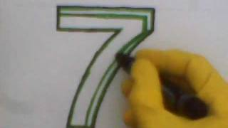How To Draw The Number 7 Seven step by step tutorial learn teach letters count seven