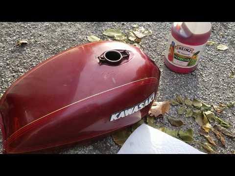 Cheap way to clean motorcycle tank using vinegar