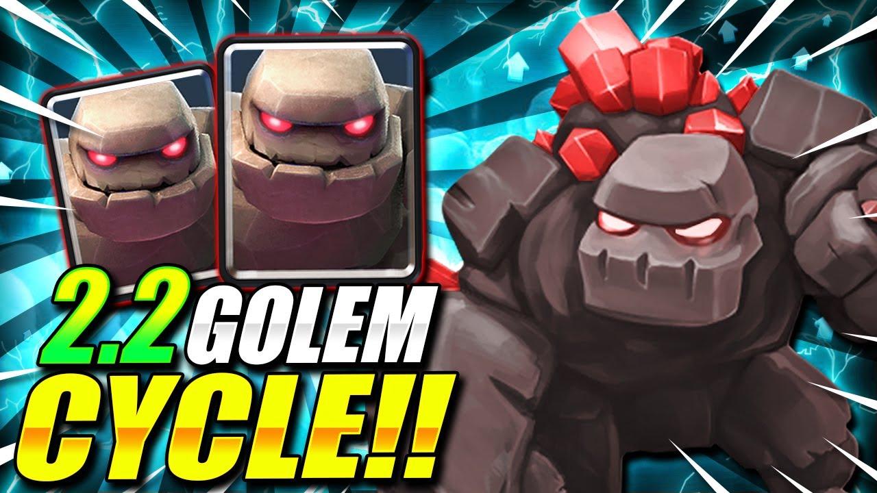 2.2 ELIXIR FASTEST GOLEM CYCLE DECK EVER!! IT'S INSANE!!