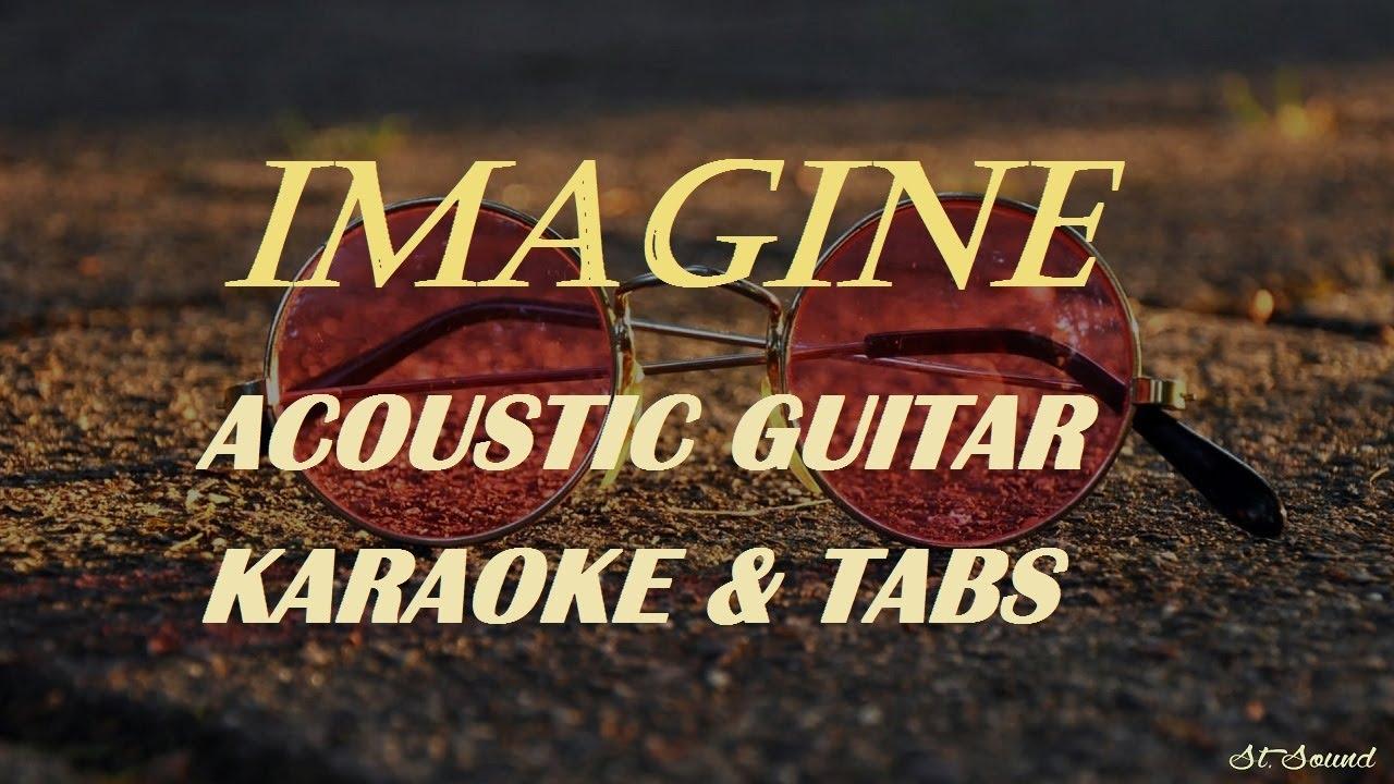St.Sound - Imagine - John Lennon - (acoustic guitar karaoke version with tabs and lyrics)