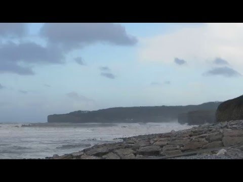 Storm Jake Stormy Sea And Waves - Llantwit Major, South Wales, Mar 2nd 2016
