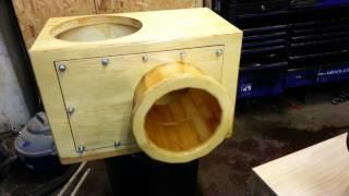 Custom sub box with 10.5 inch removable round port made from wood fi, dd, kicker, re audio, sundown