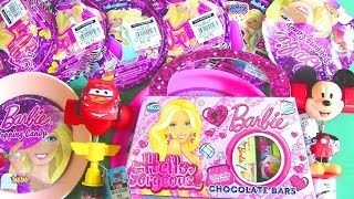 Barbie Chocolate Bars, Barbie Popping Candy, Mickey Mouse, Cars 2 Giggle Head