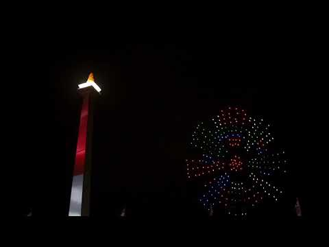 COUNTDOWN ASIAN GAMES 2018 (300 DRONES LIGHT SHOW) AT NATIONAL MONUMENT OF INDONESIA