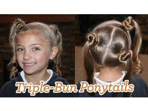 Triple-Bun Ponytails | Cute Girls Hairstyles
