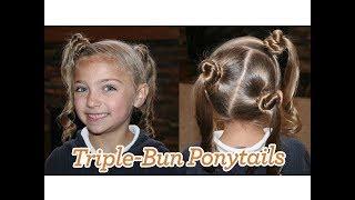 Triple-Bun Ponytails | Cute Girls Hairstyles