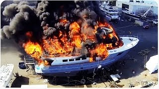 Massive Yacht Fire Caught by Drone