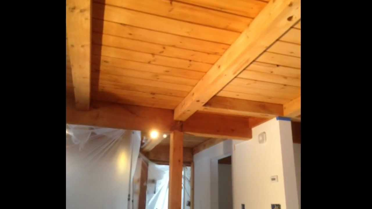How To Refinish A Damaged Post Beam Ceiling