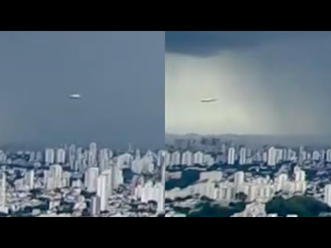 Incredible Fast Disc Shaped UFO Filmed During Urgent Storm News Broadcast over São Paulo (Brazil)
