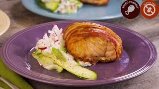 Bacon-Wrapped Salmon Filets with Ranch Sour Cream and Radishes