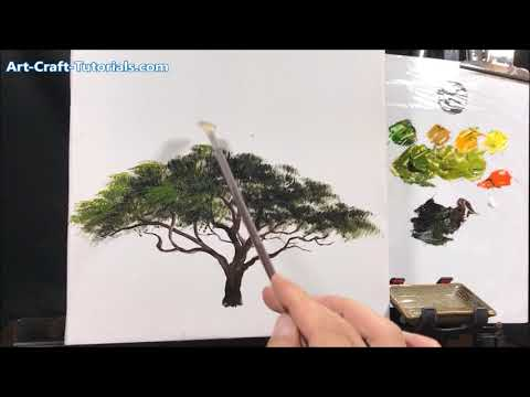How To Paint An Africa Tree In Acrylic With Fan Brush
