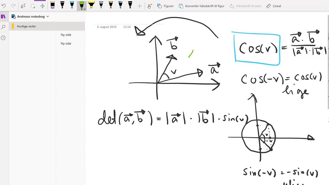 Vektorer: Determinant og vinkel med fortegn