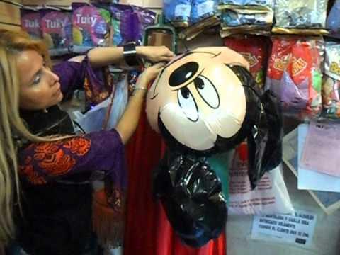 Curso de globos como llenar cabeza de mickey mouse de - Llenar globos con helio ...