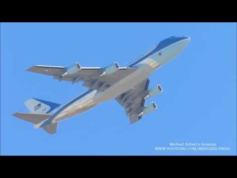 Air Force One Boeing 747 Takeoff from Israel TLV Ben Gurion Airport
