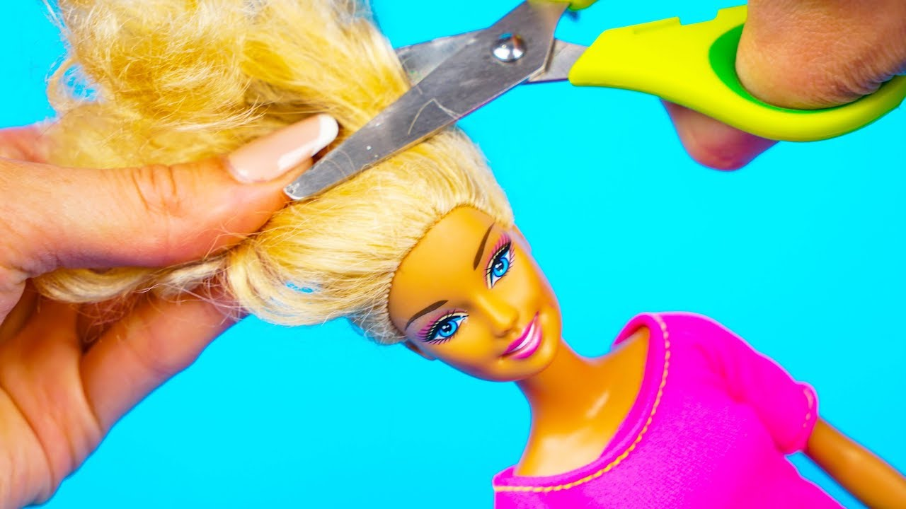 DIY Barbie Doll Hair Style | How To Make Barbie Hairstyle and New Clothes - DIY for Kids
