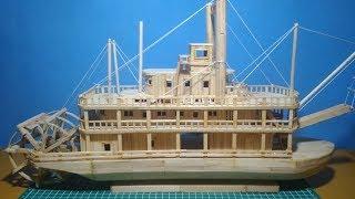 Mudah..!!! cara membuat miniatur kapal king of missisipi dari stik es cream