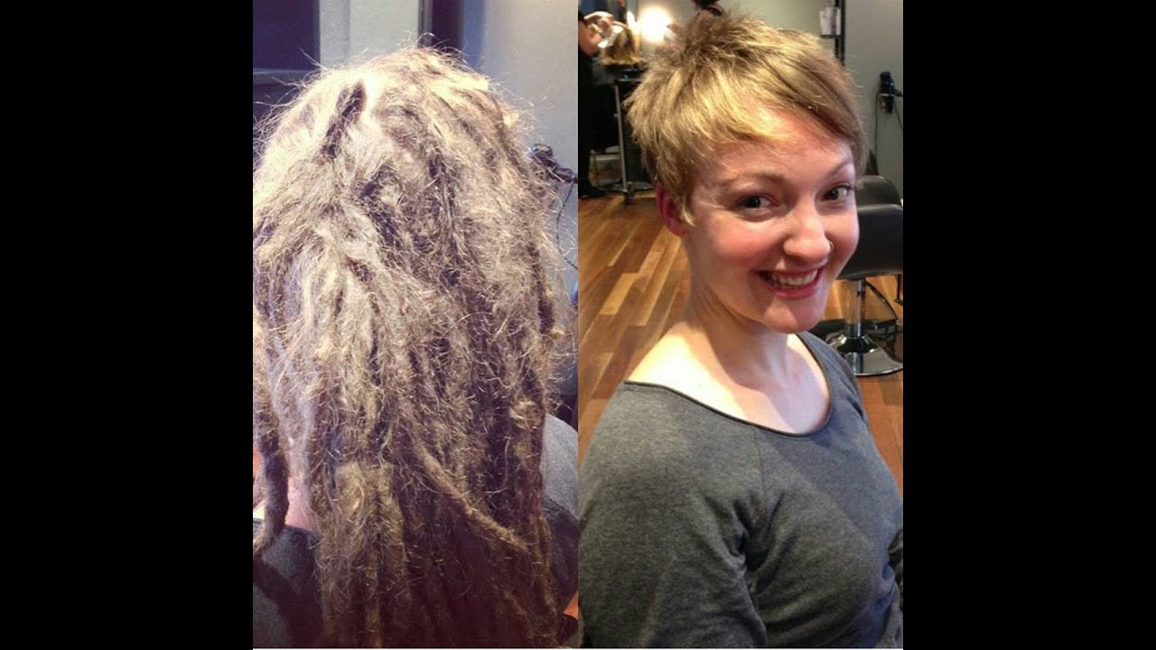 Captivating HAIRCUT On Long Blonde Dreadlocks To A Pixie Cut
