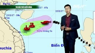 VTC14 | Thời tiết 12h 12/11/2017 | bão số 13 suy yếu dần thành áp thấp nhiệt đới trong 24h tới