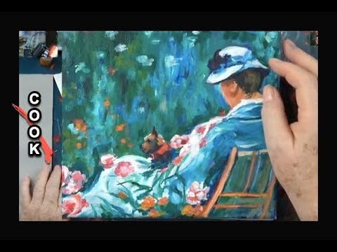Painting a Lady in a  Garden Chair with a Dog inspired by Mary Cassette