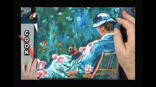 Painting a Lady in a  Garden Chair with a Dog inspired by Mary Cassatte