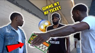 FAKE LOTTERY TICKET PRANK IN THE HOOD !!!