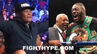 DEONTAY WILDER TRADES WORDS WITH LUIS ORTIZ RINGSIDE IMMEDIATELY AFTER DESTROYING STIVERNE
