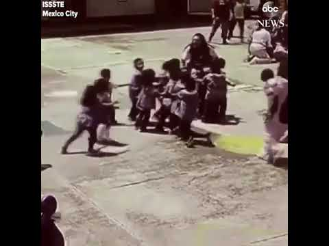 Mexico Earthquake 2017 - Children being evacuated from School falling over during tragedy