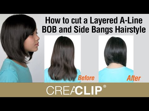 How To Cut A Layered A Line Bob And Side Bangs Hairstyle Youtube