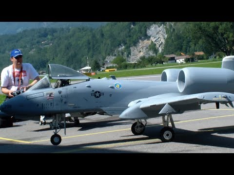 Huge Scale Turbine RC Model Jet Warthog A-10 over Meiringen AFB
