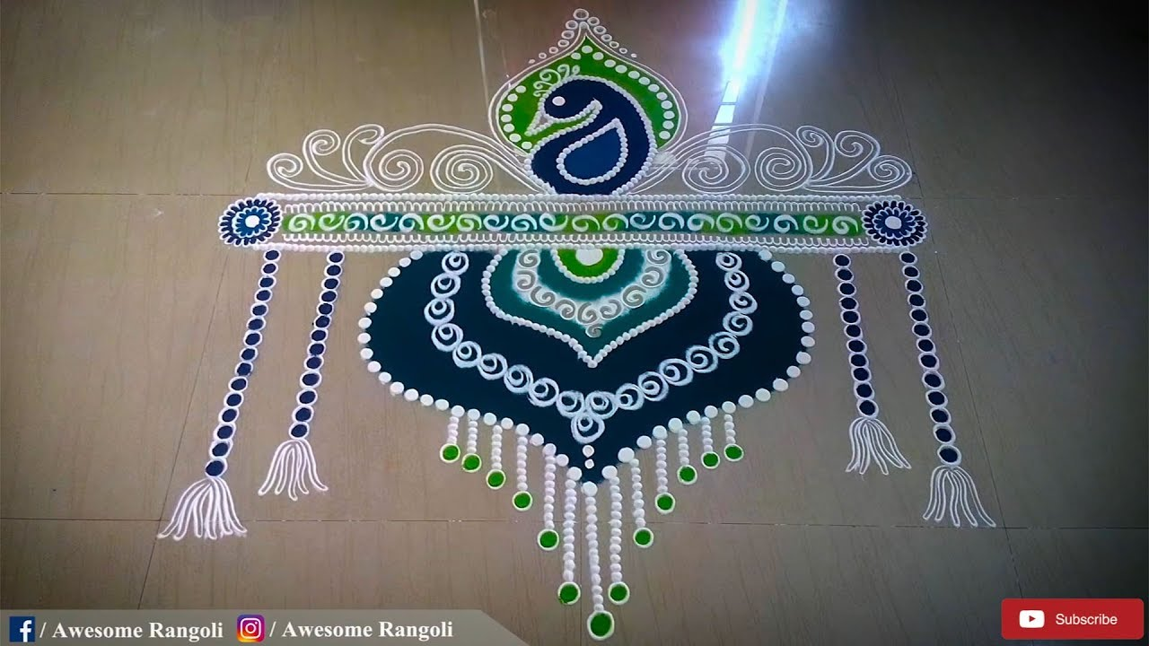 Beautiful Door Rangoli Design For Diwali Door Kolam
