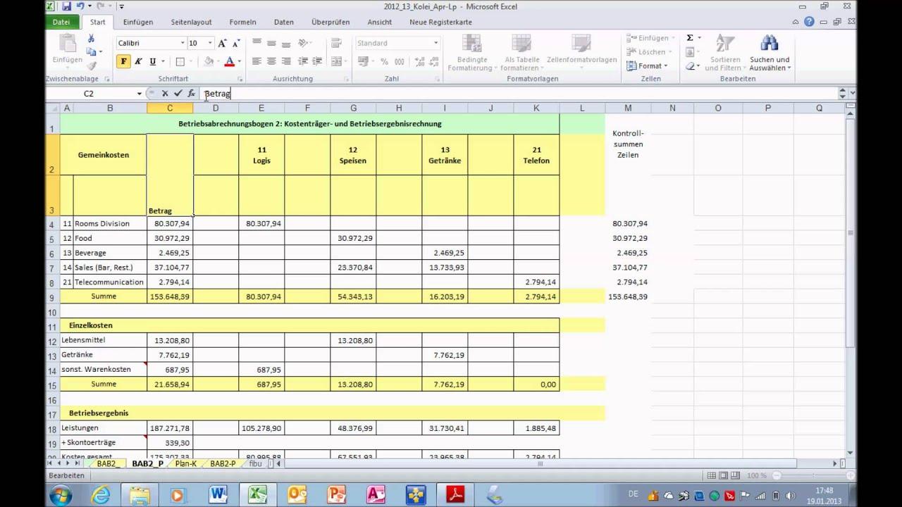 bab2 kostentrgerrechnung soll ist - Kostentragerrechnung Beispiel