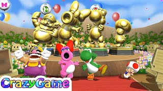 Mario Party 9 Step It Up - Wario vs Birdo vs Yoshi vs Toad Co-op 4 Player Win Gameplay