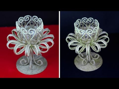 DIY jute showpice organizer   Jute craft making at home   Home decorating ideas handmade easy