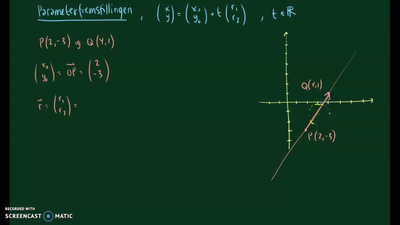 Parameterfremstilling ud fra to punkter