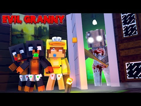Minecraft EVIL GRANNY HOUSE - SHE CAN HEAR EVERYTHING & WE ARE TRAPPED FOREVER!!