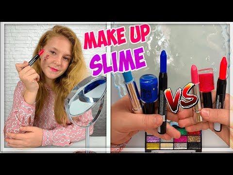 MAKEUP SLIME CHALLENGE ! Pink vs Blue ! LA GUERRE DE SLIME. Satisfying Slime Videos thumbnail