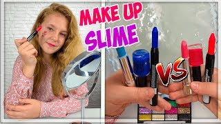 MAKEUP SLIME CHALLENGE ! Pink vs Blue ! LA GUERRE DE SLIME. Satisfying Slime Videos