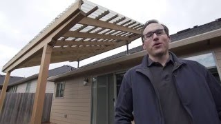 building a pergola with skylift roof riser hardware