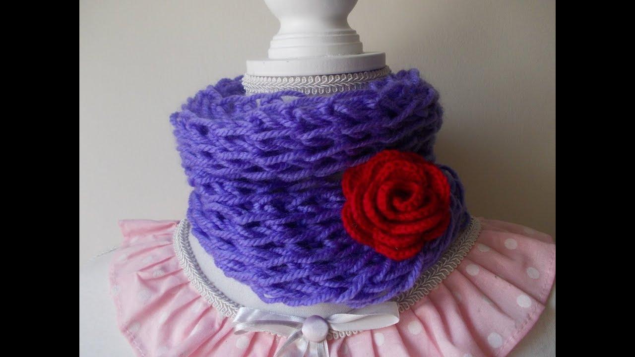 vari colori b744a 1d246 Uncinetto con le dita | Maglia Bassa | Sciarpa e Scaldacollo | Fingers  Crochet | Scarf | Neckwarmer