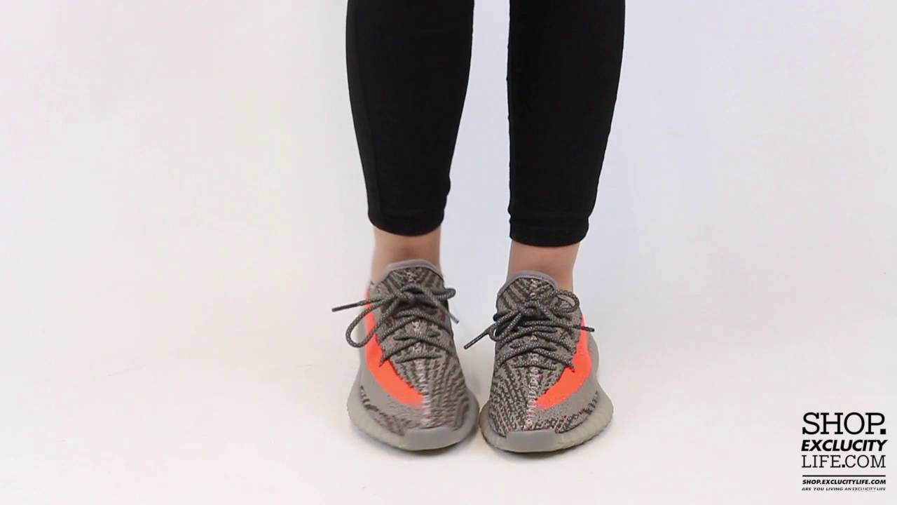 big sale a1613 58a86 Women's Adidas Yeezy 350 Boost V2 Beluga Solar Red On feet Video at  Exclucity